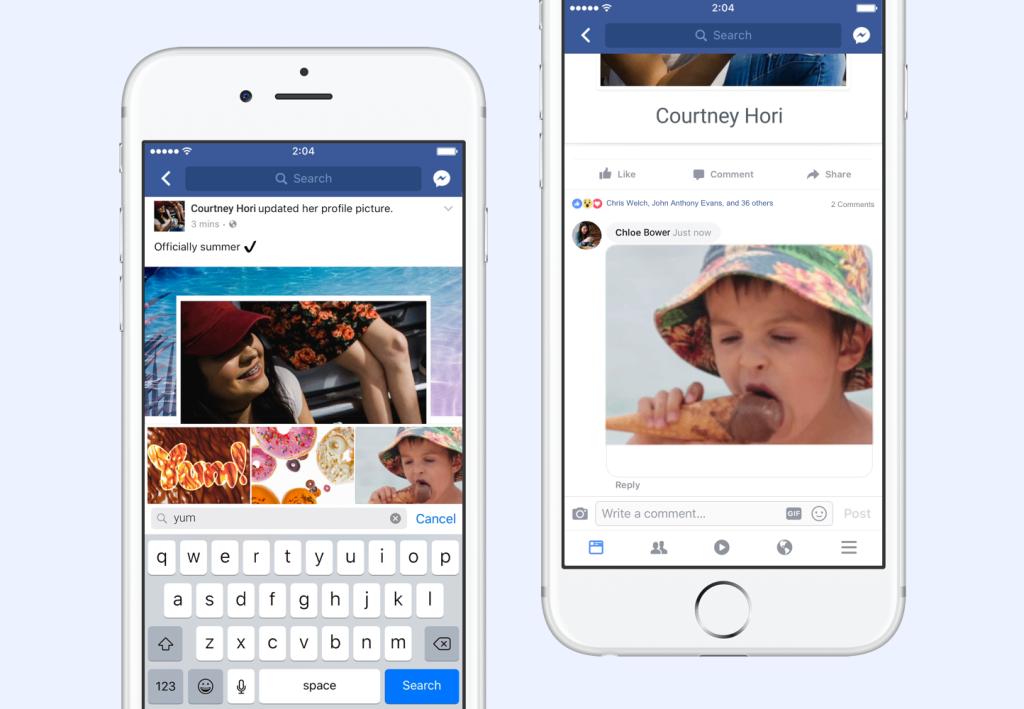 responder con GIFs en Facebook