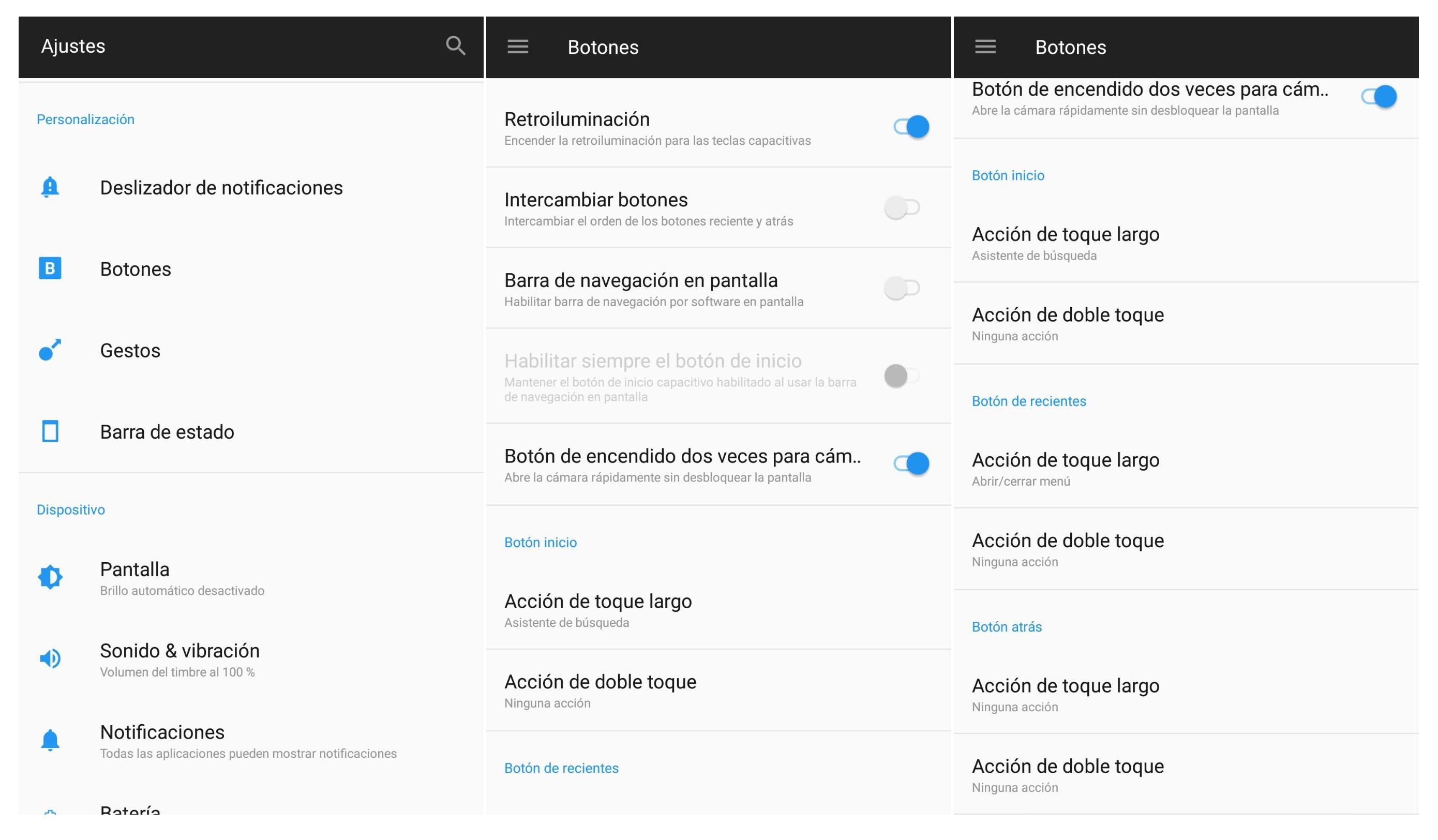 personalizar los botones en el OnePlus