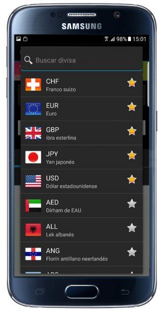Listado de monedas en Currency FX