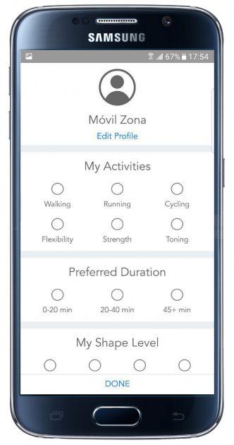 Selección en la aplicación Personal Fitness Coach