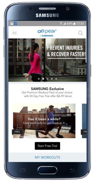 Interfaz de la aplicación Personal Fitness Coach