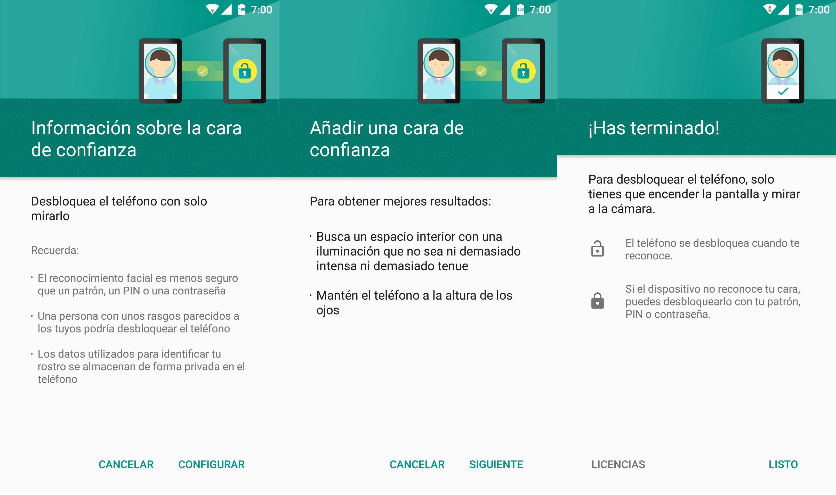 Configuración del reconocimiento facial en Android