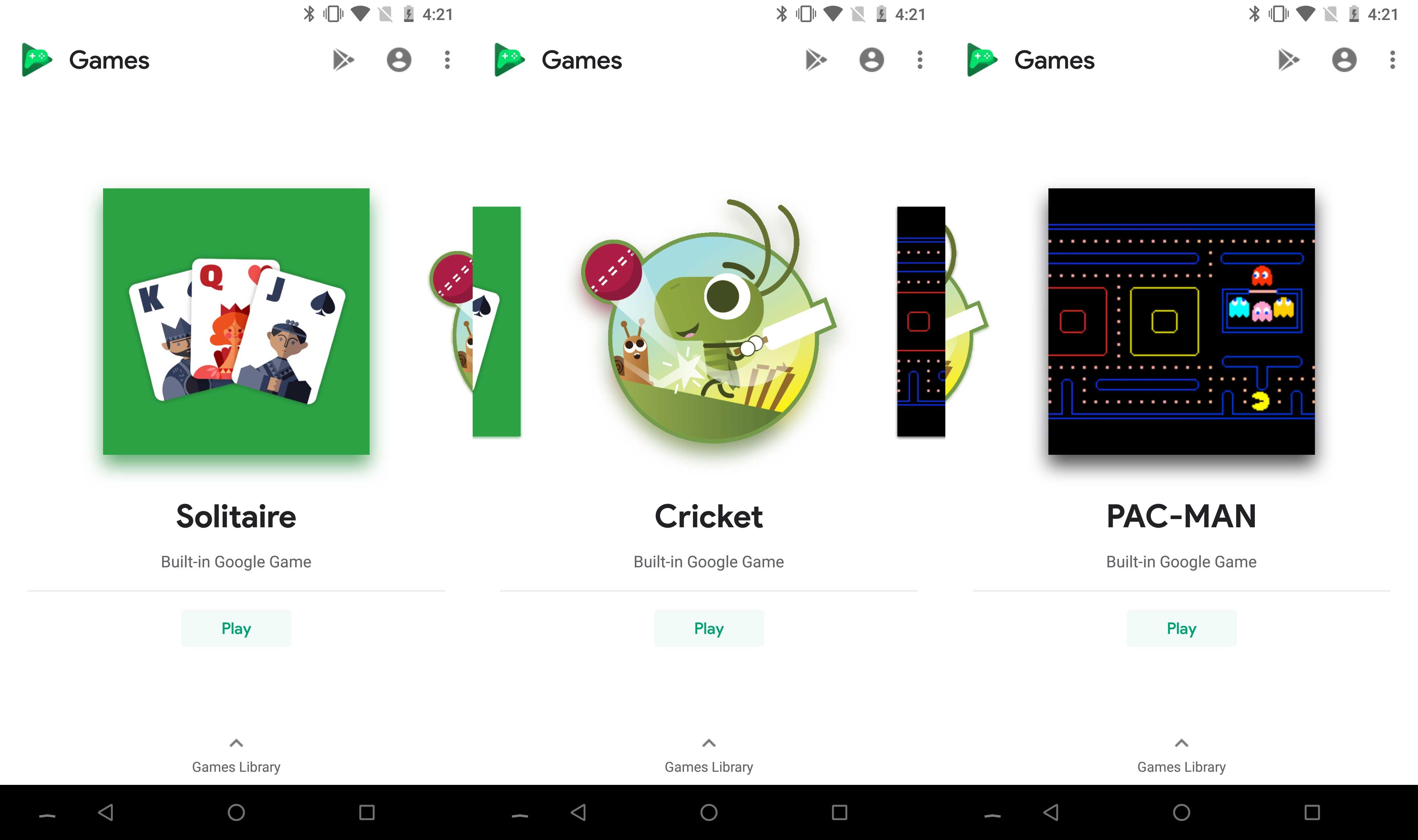 Tres juegos gratis en Play Games