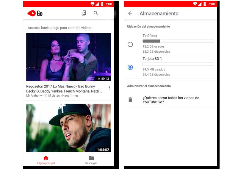 PAntalla principal y ajustes de almacenamiento de YouTube Go