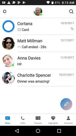 Nuevo Skype para Android