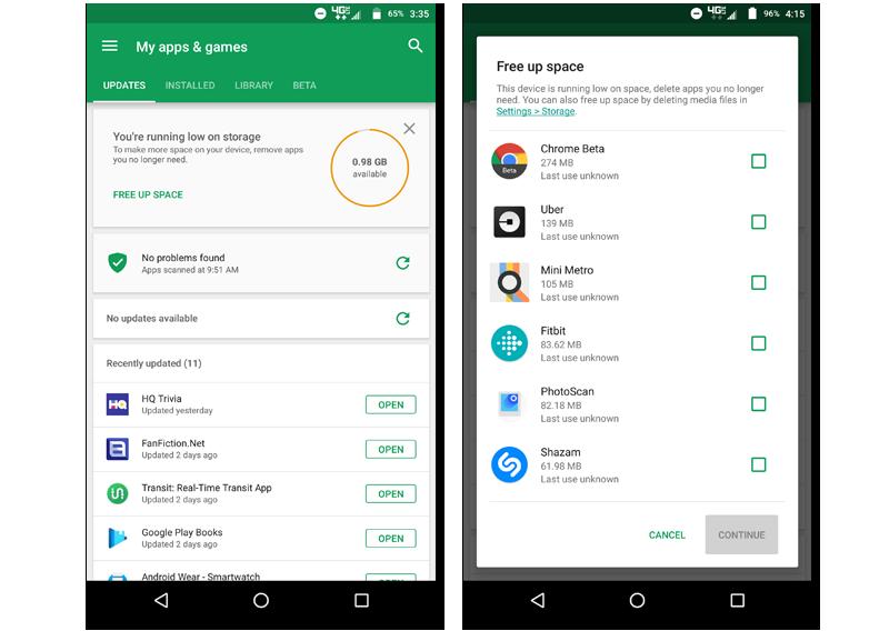 nuevas funciones Play Store liberar espacio