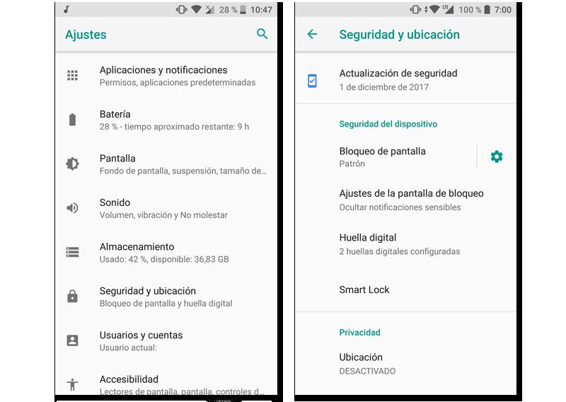 menú de seguridad de bloqueo de pantalla en android