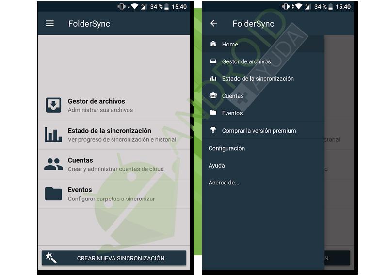 sincronizar todas las carpetas del móvil con Dropbox