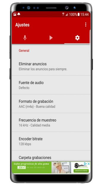 Opciones adicionales de Voice Recorder Pro - High Quality