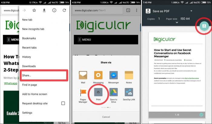 descargar páginas con Chrome para Android