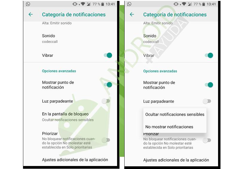 ocultar notificaciones app concreta pantalla bloqueo