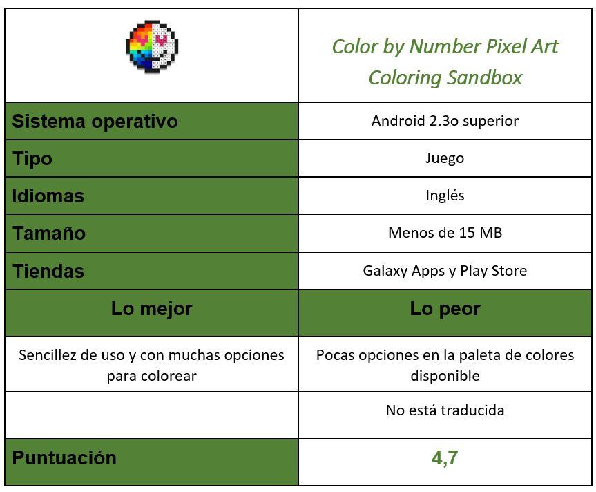 Tabla Color by Number Pixel Art Coloring Sandbox
