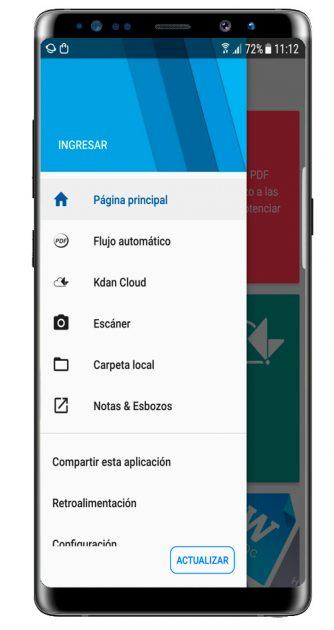 Menú lateral del PDF Reader – Scan, Edit & Share