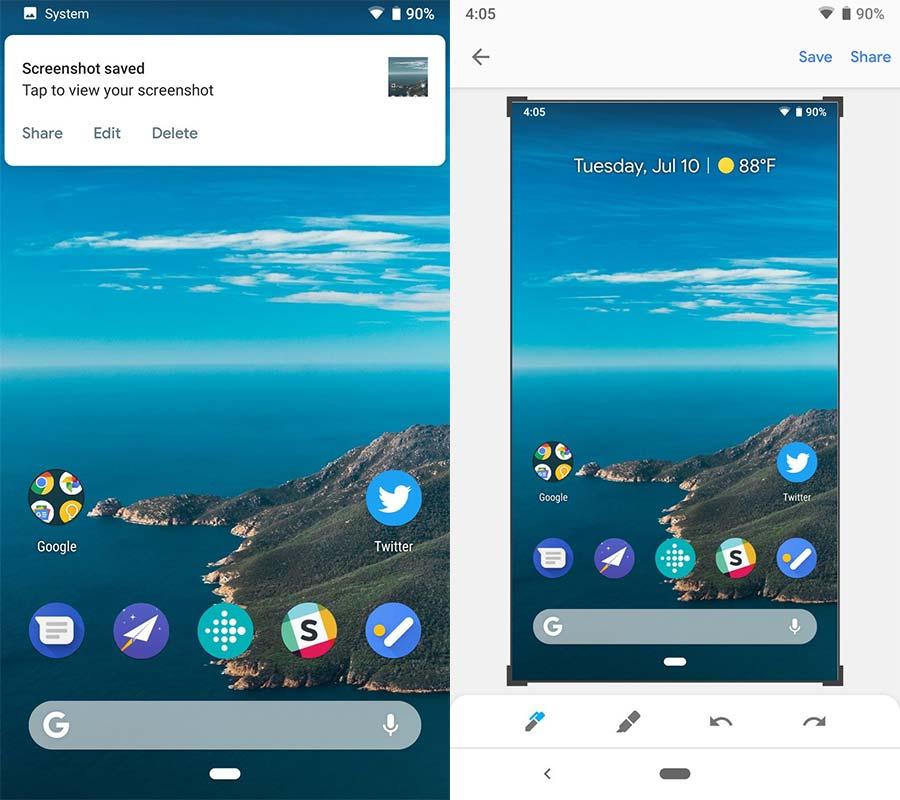 editar capturas de pantalla en Android P
