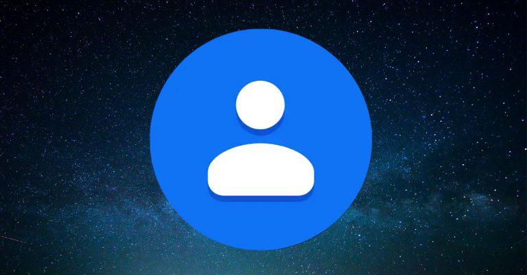 Contactos de Google con modo oscuro