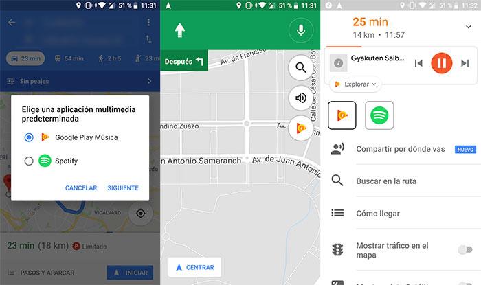 escuchar música con Google Maps