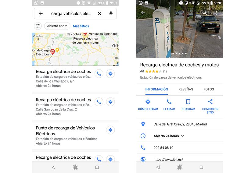 encontrar gasolineras eléctricas con google maps