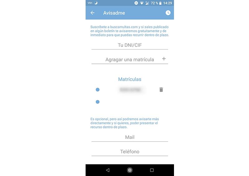 multas de tráfico en android con buscamultas