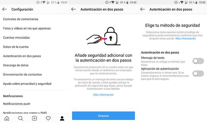 usar la autenticación en dos pasos de Instagram