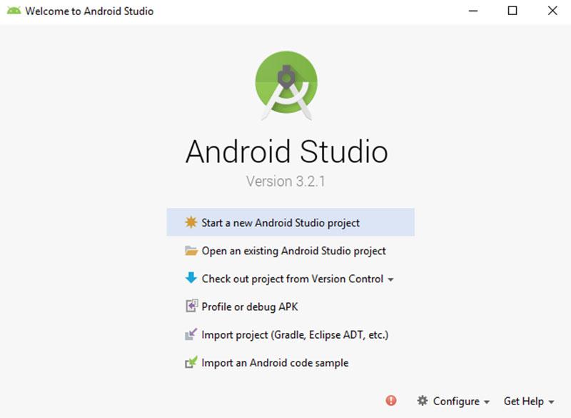 Pantalla de inicio tras instalar Android Studio