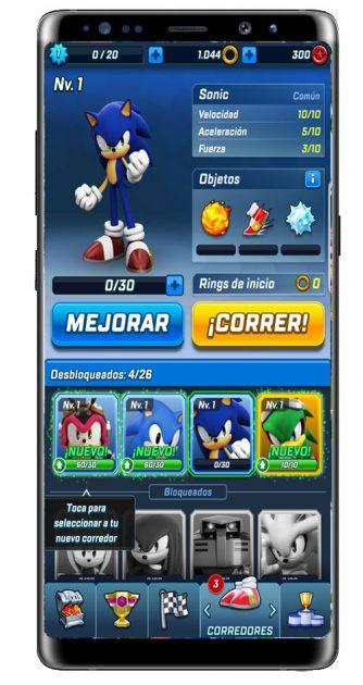 Gestión personajes en Sonic Forces