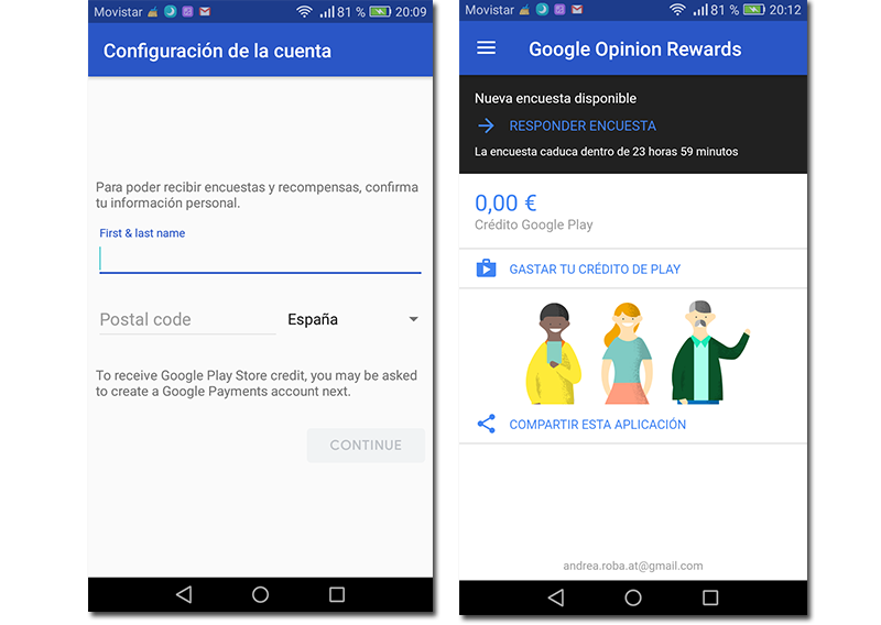 Capturas de pantalla de los datos solicitados y la pantalla de inicio de Google Opinion Rewards