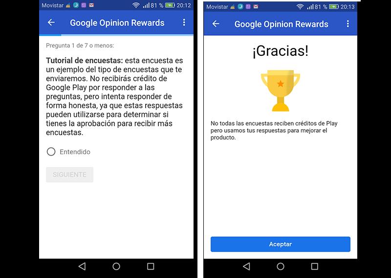 Capturas de pantalla de la encuesta de prueba de Google Opinion Rewards
