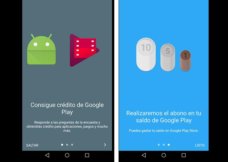 Capturas de pantalla del tutorial de iniciación de Google Opinion Rewards