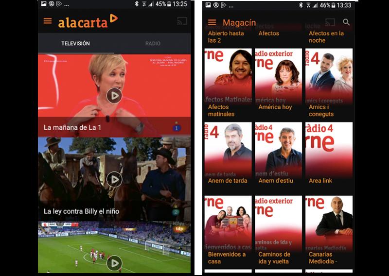Capturas de pantalla de la aplicación de Radio Televisión Española