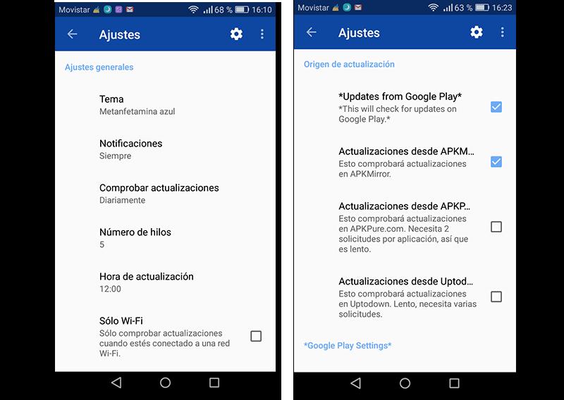 Capturas de pantalla de los ajustes de APK Updater