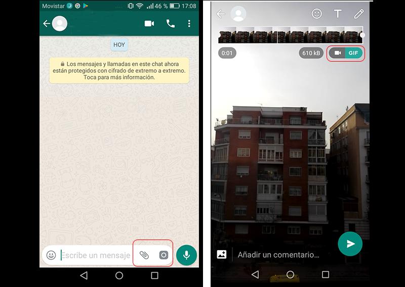 Capturas de pantalla de convertir un vídeo en GIF con WhatsApp
