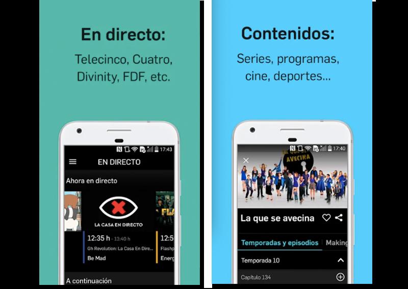 Capturas de pantalla de la aplicación de televisión Mediaset