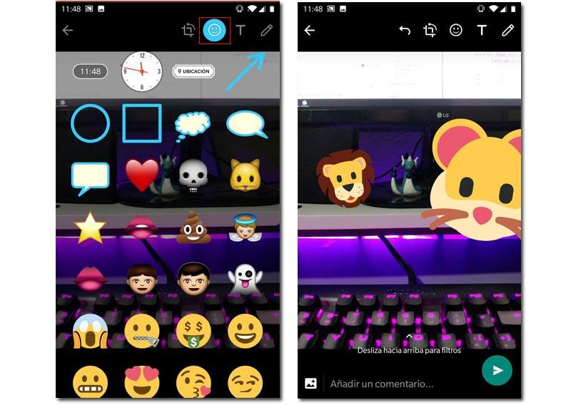 Añadir emojis whatsapp