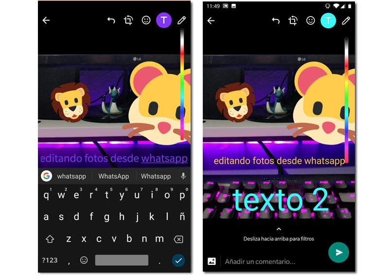 Añadir texto whatsapp