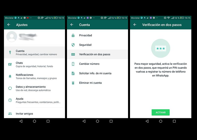 Capturas de pantalla de la ruta que hay que seguir para llegar a la opción verificación en dos pasos de WhatsApp