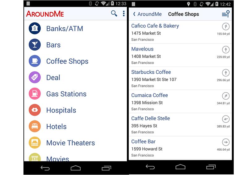 Capturas de pantalla de la app para encontrar servicios cercanos Around Me