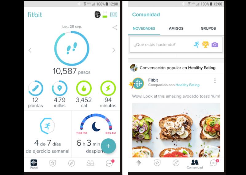 Capturas de pantalla de algunas características de la app Fitbit