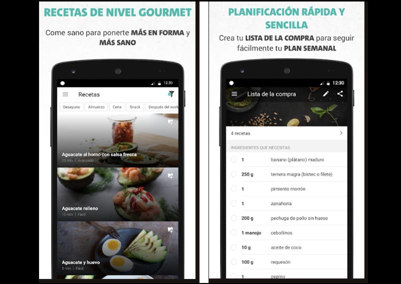 Capturas de pantalla de algunas características de Freeletics Nutrition