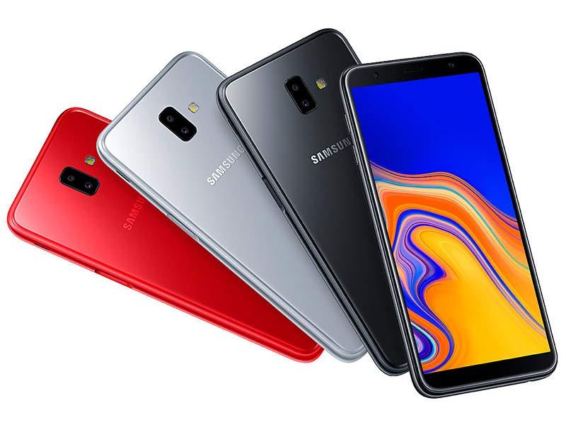 Varios modelos de Samsung J6+ en colores rojo, gris y negro