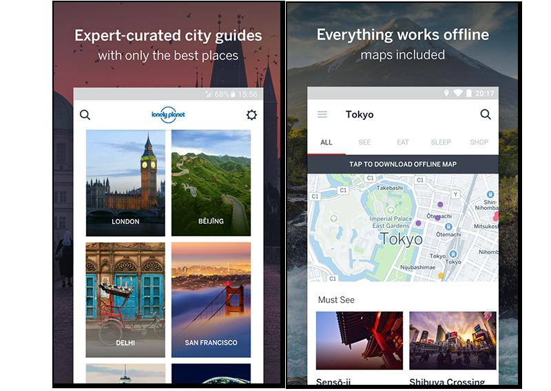 Capturas de pantalla de la app Lonely Planet