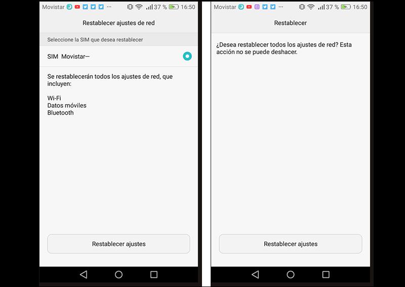 Capturas de pantalla de cómo restablecer los ajustes de red en Android 6.0