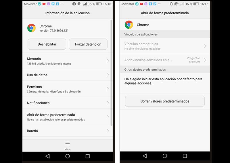 Capturas de pantalla de cómo restablecer los ajustes predeterminados de la aplicación Google Chrome