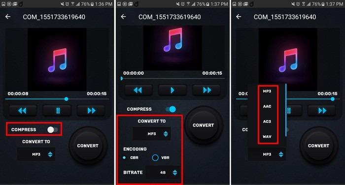 comprimir audio mp3, mp4 audio
