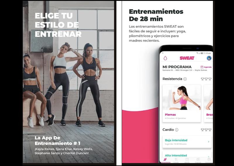 Capturas de pantalla de Sweat, app para perder peso de la mano de influencers fitness