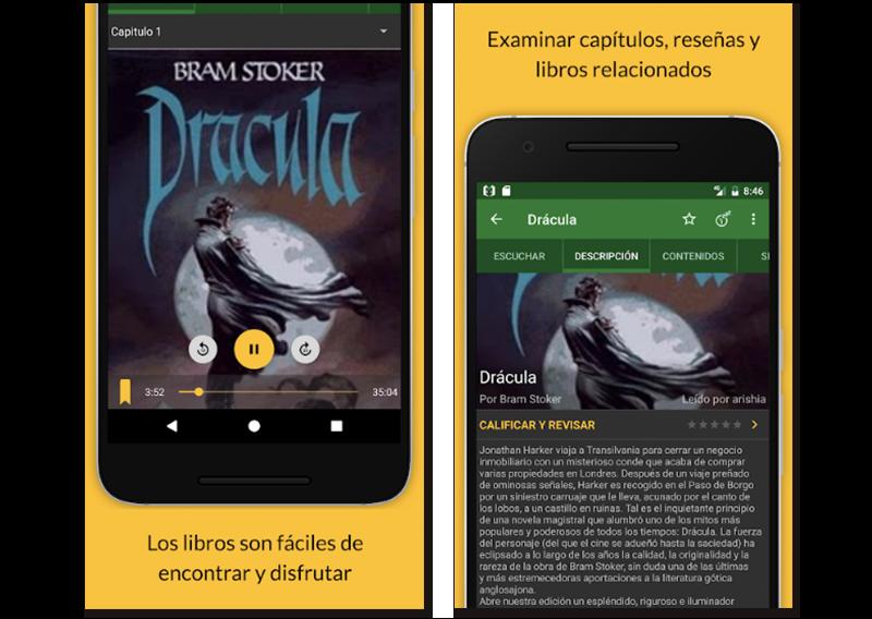 Imágenes de muestra de la app Audiolibros para escuchar lecturas