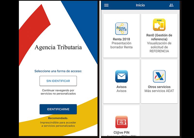 Capturas de pantalla de la Agencia Tributaria