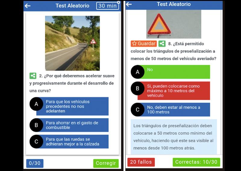 Capturas de pantalla de la app para aprobar el examen teórico de conducir
