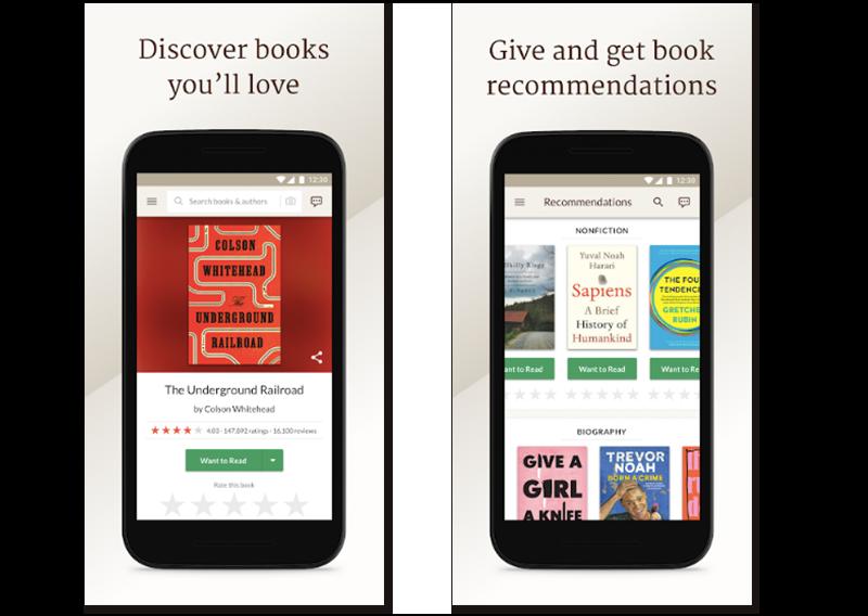 Imágenes de muestra de la app para encontrar lecturas Goodreads