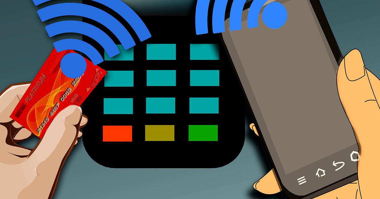 Ilustración en la que aparece un móvil y una tarjeta de crédito pagando en un datáfono