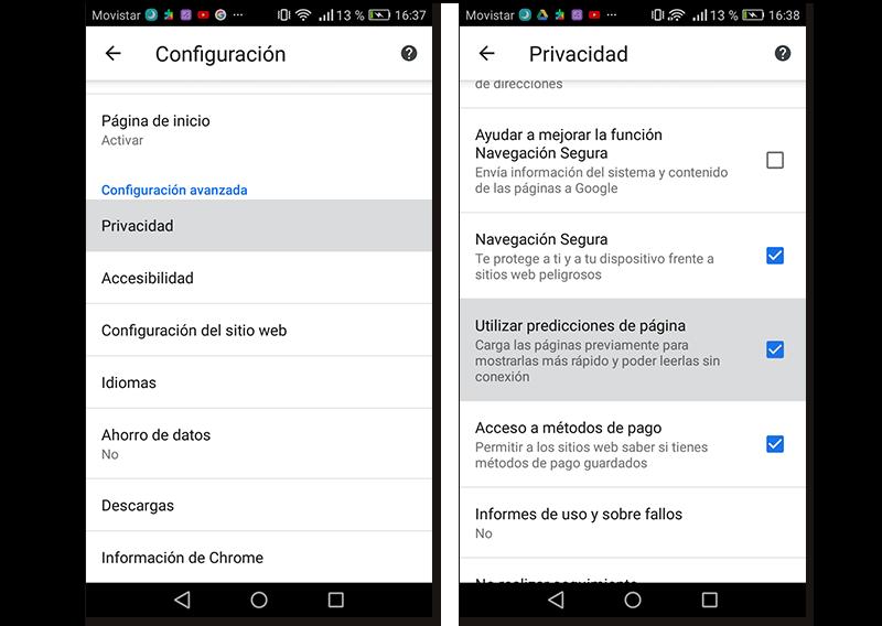 Capturas de pantalla de cómo activar las predicciones de página en Google Chrome